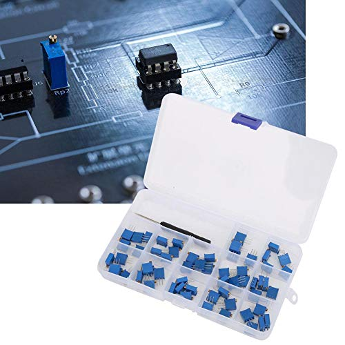 12 Valve Trimmer Potentiometer Assortment Kit, 60 Pcs 3296W Multiturn Trimmer Resistors Electronic Components with Screwdriver + Box, 100-500K ohm