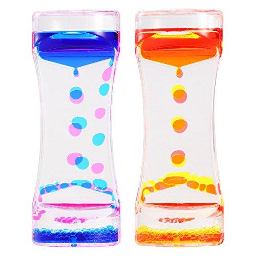 BESTOMZ 2 Stücke Liquid Timer Flüssiger Zeitmesser, Flüssigkeit Tropfenförmige Bewegung Bubbler Zahnputz-Uhr für Kinder