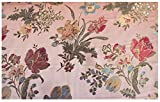 Russo Tessuti Tessuto Tappezzeria San Leucio Floreale Grande Rosa Antico 50x280 cm