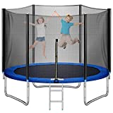 Trampoline 10FT Recreatinal Trampolines with Safety Enclosure Net ASTM Approved Outdoor Backyards Trampolines for Adults and Kids Combo Bounce Trampoline with Spring Pad Jump Mat and Ladder