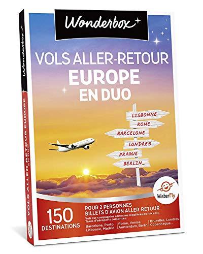 Wonderbox - Coffret cadeau voyage - VOLS ALLER/RETOUR EUROPE EN DUO: 150 destinations à faire à deux