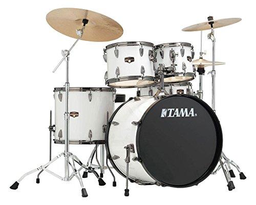 Tama IP52KH6N-BSGW Imperialstar Drumkit (Komplettes Drumset inkl. Hocker, Kessel aus sechslagigem Pappelholz, doppelstrebige Hardware, inkl. Meinl MCS Beckensatz) Sugar White