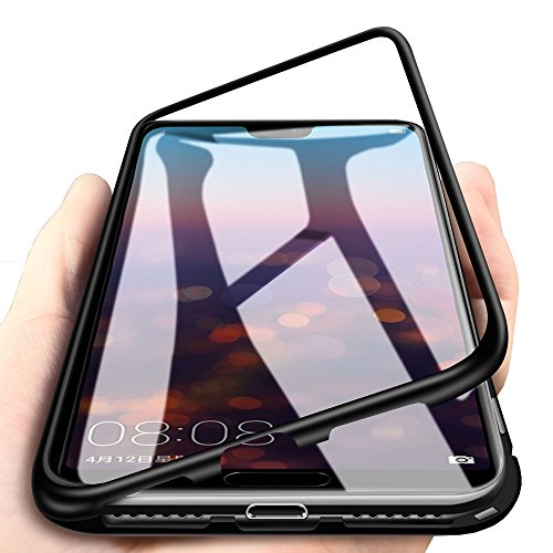 WindCase Huawei P20 Pro Funda, Anti-rasguño Metal Aluminio Bumper con Magnética + Transparentee Vidrio Templado Rígida Cubierta Protectora Carcasa para Huawei P20 Pro Negro [+ Cristal Templado]