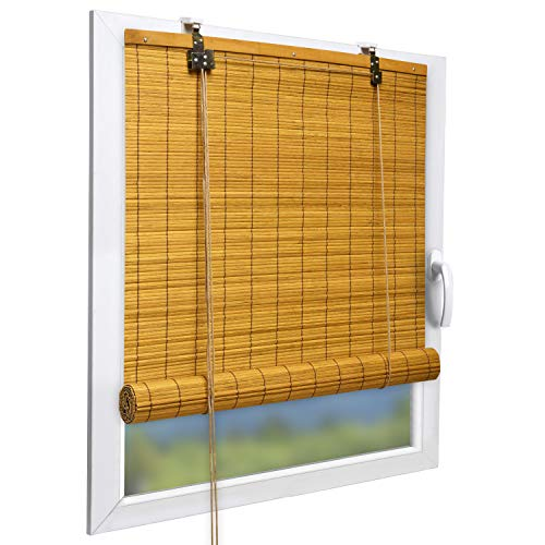 Sol Royal Bambusrollo 90 x 220cm SolDecor B86 - Ohne Bohren - Raffrollo Bambus Inkl Klemmfix Träger - Rollo Bambus - Mit Kindersicherheitsclip - Bambus