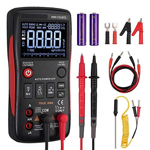 Multimetro Digital 9999 cuentas TRMS Polimetro Profesional Diseño de Botón Pantalla Con Luz Medidor de NCV Voltaje Corriente CA CC Capacitancia Resistencia Temperatura con Sondas y Termopar