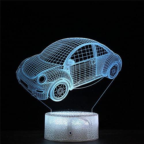 3D noche luz para niños, coche 3D ilusión junto a la lámpara de mesa 16 colores cambio automático interruptor táctil decoración lámparas regalo cumpleaños