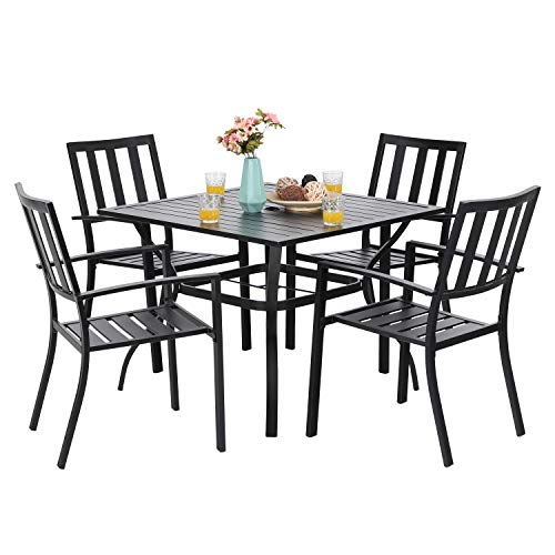 PHI VILLA 5-Piece Metal Patio Outdoor Table and Chairs Dining Set- 37' Square Bistro Table and 4 Backyard Garden Chairs, Table with 1.57' Umbrella Hole