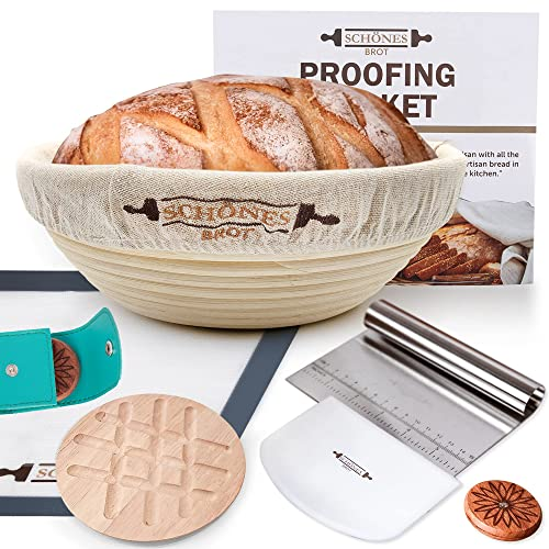 10' Bread Proofing Basket Kit - Bread Making Set Brings The Bakery To Your Kitchen with Sourdough Bread Baking Supplies - Banneton Basket Set with Precision Tools & Artisanal Accessories To Bake Homemade Bread