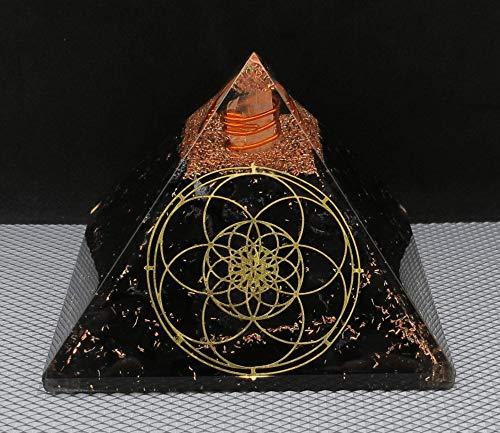 Pirámide de orgonita de Shungite para protección EMF y protección de energía negativa | Pirámide orgánica de cristal natural (flor sagrada de la vida)