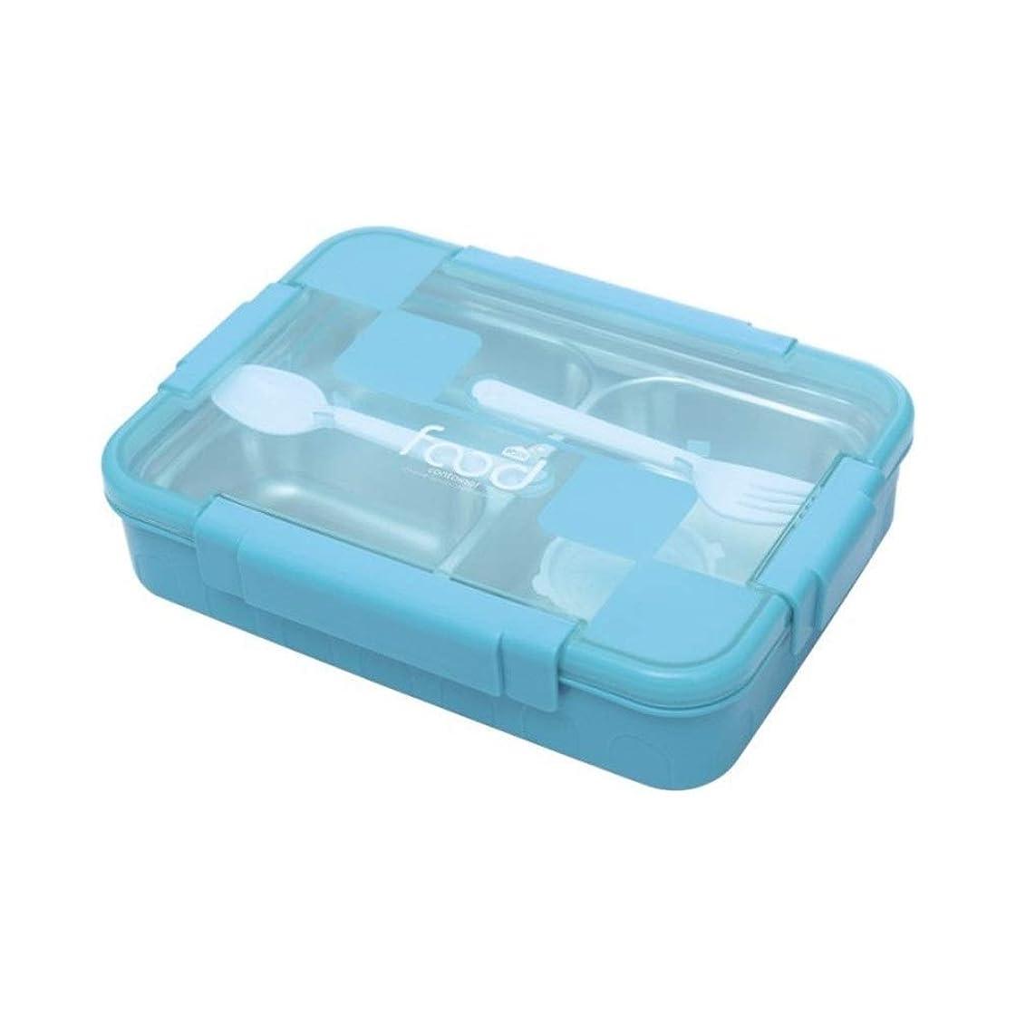 ジョイント組スペース弁当箱 スプーンとフォーク封印されたランチボックス水注射暖房304ステンレスランチボックス三グリッドランチボックス (Color : Blue, Size : 27x20x6cm)