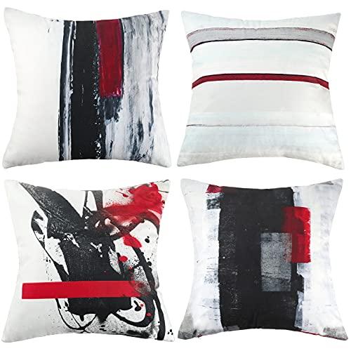 Hanrunsi Fundas de cojín rojas y negras grises abstractas modernas fundas de cojín de 45 x 45 cm, fundas de cojín blancas para sofá, sala de estar, dormitorio, sofá