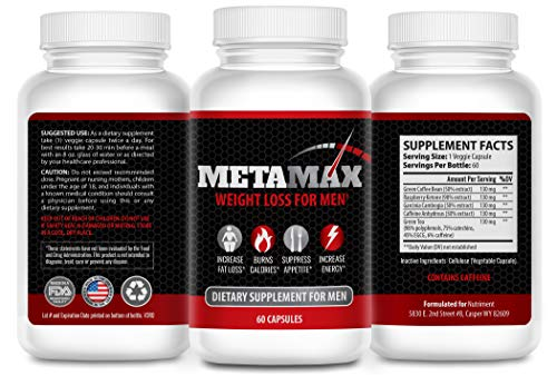 MetaMax Pro- Mens Weight Loss Pills- Male Thermogenic Fat Burner and Metabolism Booster- Appetite Suppressant Supplement- Energy Diet Pills to Lose Weight Fast- 60 Caps