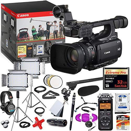 Best Prices! Canon XF100 HD Professional PAL Camcorder - Pro Filmmaker Kit - Includes Dual LED Light...