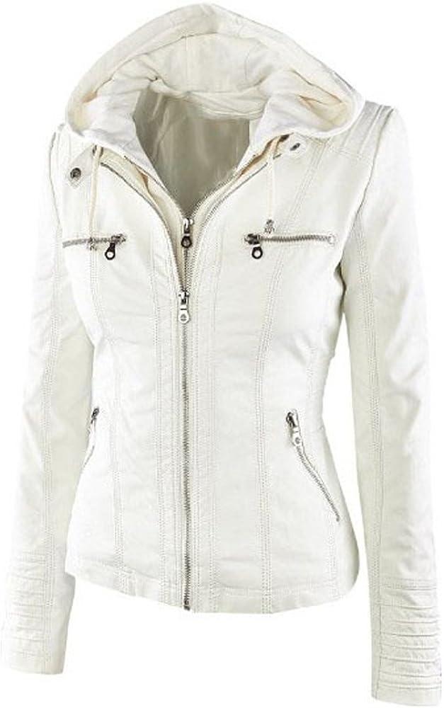 Women Winter Vintage Zip-up Removable Hooded Motocycle Bomber Jackets Faux Leather Biker Jacket Coats Beige
