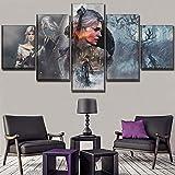 GHDE& Wandkunst Wohnkultur Modular Bild EIN Satz Spielplakat 5 Stücke Hohe Qualität Leinwanddruck The Witcher 3 Wilde Jagd Gemälde,A,40 * 60 * 2+40 * 80 * 2+40 * 100 * 1
