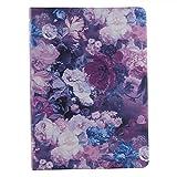 XIAOZHI Professional Portfolio, Floral Painting PU Leather Binder Padfolio, Business Planner Organizer with 3-Ring Binder, Purple, 9.5 x 9.5 x 12.8'