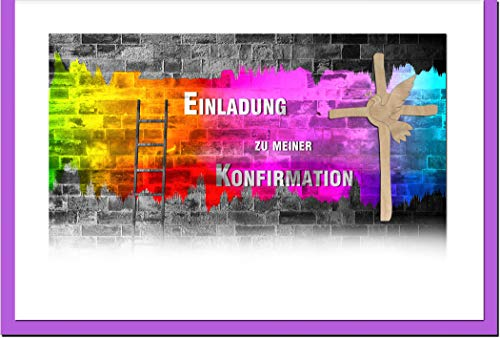 metALUm Einladungskarten KONFIRMATION   Graffiti   10 Karten   1701013