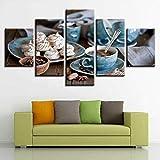 5 piezas de arte de la pared pintura taza de café magdalenas frijoles comida desayuno HD fotos póster impreso en lienzo decoración moderna abstracta marco de madera listo para colgar