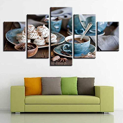 Lienzo Giclée de pared Art imagen para decoración del hogar de Taza de café Muffin Frijoles Alimento Desayuno 5 piezas Pinturas moderna estirada y enmarcado arte aceite