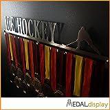Medaldisplay - Ice Hockey | Portamedallas de hockey / Medallero de pared para medallas de hockey - Cuelgamedallas, 450mm x 80mm x 3mm