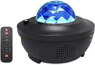 Led Projektor Sternenhimmel,Galaxy Light Sternenlicht Projektor mit 360°Drehen Ozeanwellen/Bluetooth Musikspieler/Fernbedi...