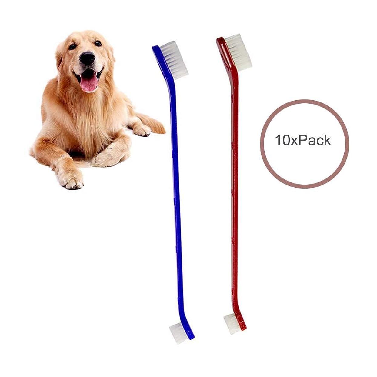 オンス消費者想定する犬歯ブラシ, ダブルヘッドハンドルペットプロの歯ブラシと猫の歯ブラシ、最も効果的な歯ブラシクリーニング(青と赤)