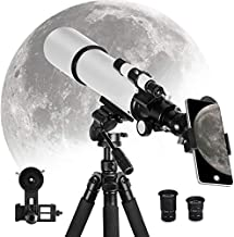 Telescope for Adults Kids Astronomy Beginners, 80mm Aperture 500mm AZ Mount, Astronomical Refractor Professional Telescope with Tripod and Phone Adapter to Observe Moon and Planet