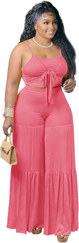 Ekaliy Women Outfits Summer Sleeveless Bikini Printed Crop Tops Wide Leg Palazzo Pants 2 Piece Set Beachwear