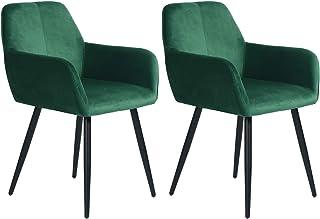 Muele Cosy Lyanco Dark Green – Juego de 2 sillas de Comedor cómodas, sillón de salón Acolchado de diseño escandinavo, Terciopelo Verde, 55,5 x 56,5 x 76,5 cm