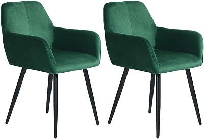 MEUBLE COSY Lot de 2 Chaise de Salle à Manger Confort, Fauteuil de Salon Rembourré au Design Scandinave, Velours Vert