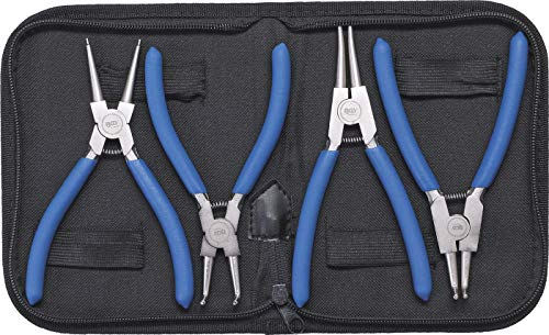 BGS 450 | Sprengringzangen-Satz | 4-tlg. | 150 mm | Seegering-Zangen | gebogen | gerade | rutschhemmend | inkl. Tasche