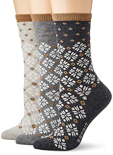 ESPRIT Damen Norwegian 3-Pack Socken, Mehrfarbig (sortiment 0010), Einheitsgröße (DE 36-41) (3er Pack)