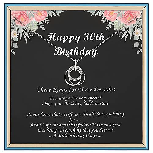 Birthday Necklaces for Women, 30th 40th 50th 60th 70th 80th 90th Birthday gifts for Women, Silver Rings Necklace, Sterling Circle Necklace for Her, Gift Box