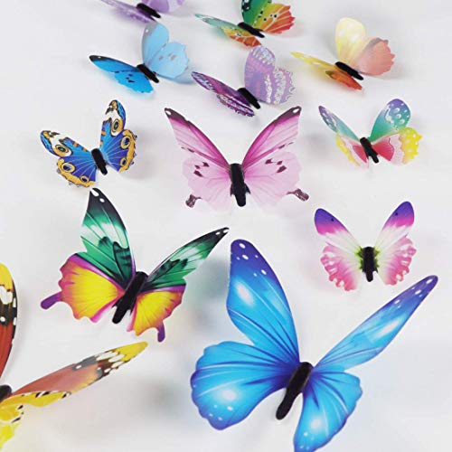 24Pcs Colorful Butterfly Wall Stickers DIY Art 3D Double Wings Decor Magnets Murals Stickers for Kids Girls Baby Women Bedroom Bathroom Living Room Multi-Colored Mixed Color