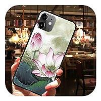 Cenzz フラワーラグジュアリー3Dエンボスエンボスエンボス保護ケースforiPhone XS Max X XR for iPhone 11 iPhone 11 Pro Max 8 6S 6 7 Plus 5 5SSEカバーソフトTPUケース-2hehua-For iPhone 5 5S SE