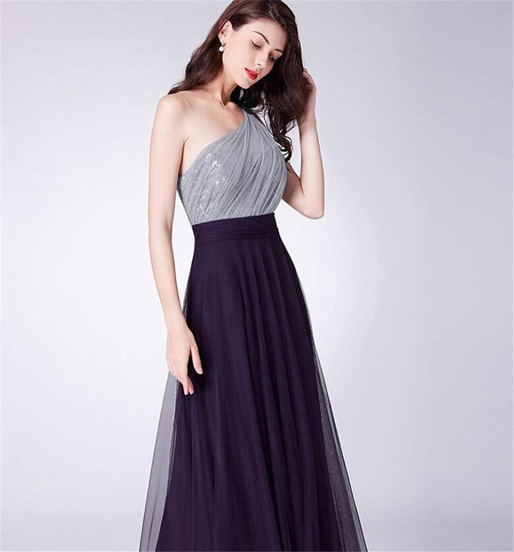 Evening Dress, Europe and America Temperament Sleeveless Strapless Shoulder Elegant Slim Fit Mesh Slim get Together Dinner Party Dress