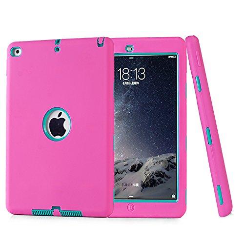 Funda para iPad Air 2, iPad 6, Funda de Tres Capas Resistente a los Golpes, híbrida, Resistente, antiarañazos, Resistente a los Impactos, Carcasa Protectora de Cuerpo Completo para iPad Air 2/iPad 6