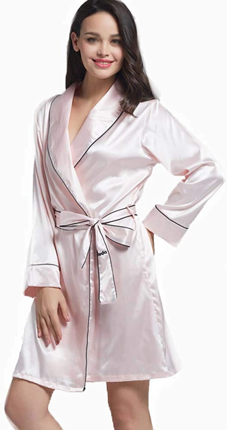 GJFeng Pajamas Women Spring and Autumn LongSleeved Ice Silk Single Piece Sexy Loose Dressing Gowns (color   Pink, Size   XL)