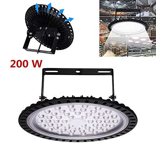 Yuanline 200W UFO Iluminación LED Alta, Lámpara Industrial Ultra Delgada,Lámpara Industrial de Blanco Frío 6000-6500K, 50000Lm,(200W,1 Pack)