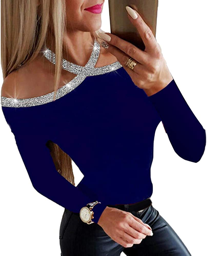 discountstore145 Women Tops,Sexy Solid Color Off Shoulder Long Sleeve Sequined Cross Halter Blouse Pullover Top Blouse