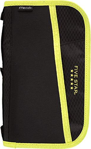 Five Star Pencil Pouch, Pen Case, Fits 3 Ring Binder, Multi-Pocket Pouch, Black/Yellow (50162CC8)