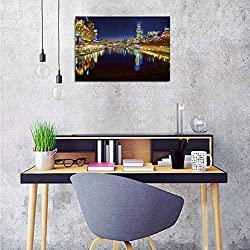 City Wall Picture Decoration Looking Down The Yarra River on a Beautiful Night in Melbourne Water Reflection Wall Stickers for Kids Room 24x20 Inch
