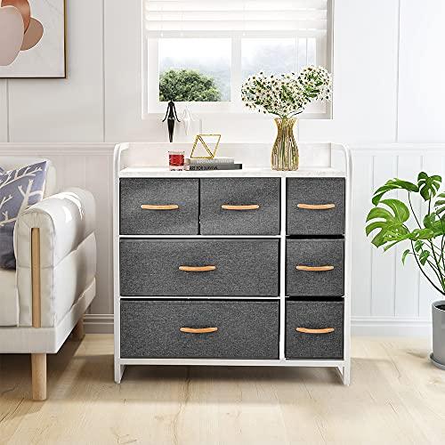 Mesitas de noche de 80 x 29 x 78 cm, con 7 cajones no tejidos y patas ajustables y marco de madera de metal, mueble de almacenamiento para pasillo, dormitorio, sala de estar (blanco)