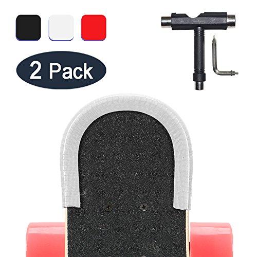 YOUSHARES 2 Pack Skateboard Deck Nasen Wächter und Schwanz Wächter, Elektro-Longboard-Kantenschutz mit Skateboard-Tools, T-Type Skate-Tool (Weiß)