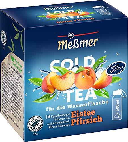 Meßmer Cold Tea Eistee Pfirsich | Für die Wasserflasche | ohne Zucker | ohne Kalorien | Alternative zu zuckerhaltigen Getränken wie Limonade oder Saft | 14 Pyramidenbeutel