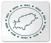 イビサマウスパッド、星に囲まれた円形フレームを探してグランジ内のイビサマップの概要、標準サイズの長方形の滑り止めラバーマウスパッド、青緑