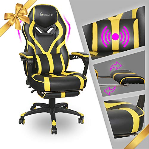 LUCKWIND Video Gaming Chair Racing Recliner - Ergonomic Adjustable Padded Armrest Swivel High Back...