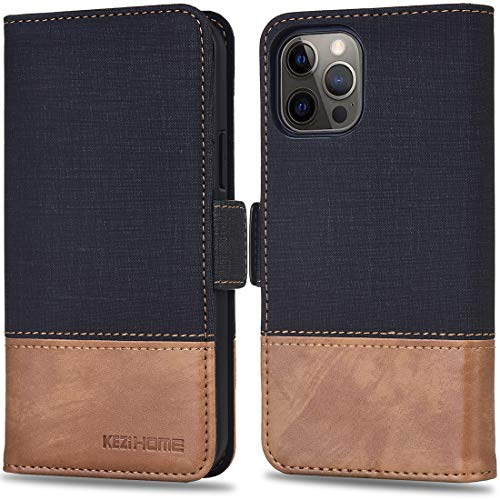 KEZiHOME PU Leather [RFID Blocking] 5G Wallet Case Flip Magnetic Cover with Card Slot Kickstand Phone Case Compatible with iPhone 12/iPhone 12 Pro (6.1 inch)(Black/Brown)