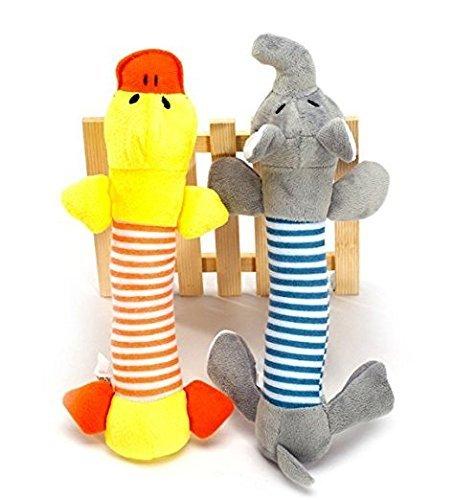Unicoco Juego de 2 piezas de juguete con sonidos para perro, cachorro, peluche, elefante, pato