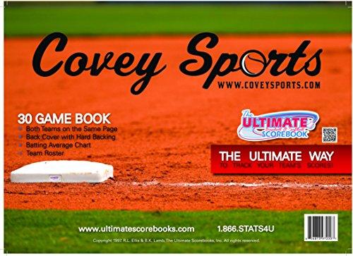Covey Sports Baseball Softball Scorekeeper Scorebook (30 Games Version) - Side by Side Score Sheets Book (1-Pack)